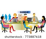 bank manager at his desk and... | Shutterstock .eps vector #773887618