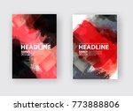 black red ink brush stroke on... | Shutterstock .eps vector #773888806