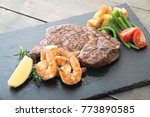 rib eye steak and grilled... | Shutterstock . vector #773890585