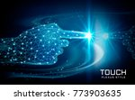 hand touching a glowing spot ...   Shutterstock .eps vector #773903635