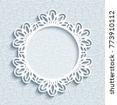 circle frame with lace border... | Shutterstock .eps vector #773910112