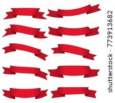 set of ten red ribbons and... | Shutterstock .eps vector #773913682