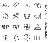 thin line icon set   dome house ... | Shutterstock .eps vector #773915998