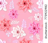 vector flowers seamless pattern ... | Shutterstock .eps vector #773922982
