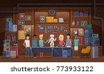 little boy and his friends... | Shutterstock .eps vector #773933122