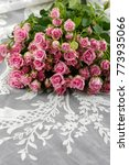 bouquet of pink roses on silk...   Shutterstock . vector #773935066