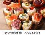 italian antipasti wine snacks... | Shutterstock . vector #773953495