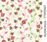 cute floral seamless | Shutterstock .eps vector #77395507