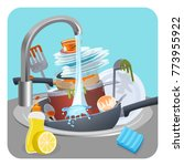 dirty dishes plates and pans in ... | Shutterstock .eps vector #773955922