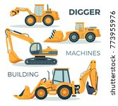 digger and machines for... | Shutterstock .eps vector #773955976