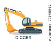 modern digger with round... | Shutterstock .eps vector #773955982