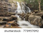 waterfall in the rainforest... | Shutterstock . vector #773957092