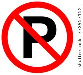 no parking sign in crossed out... | Shutterstock .eps vector #773957152