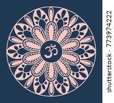 mandala frame with om symbol.... | Shutterstock .eps vector #773974222