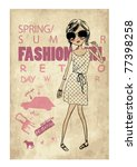 retro fashion girl | Shutterstock .eps vector #77398258