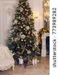 christmas golden spruce stands... | Shutterstock . vector #773989282