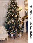 christmas golden spruce stands... | Shutterstock . vector #773989282
