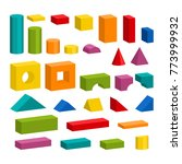 bright colorful wooden blocks... | Shutterstock .eps vector #773999932