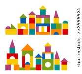 bright colorful wooden blocks... | Shutterstock .eps vector #773999935