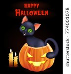 halloween background with cat... | Shutterstock .eps vector #774001078