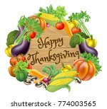 happy thanksgiving wooden sign... | Shutterstock . vector #774003565