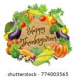 happy thanksgiving wooden sign... | Shutterstock . vector #774003565
