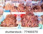 Squids drying - stock photo