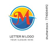 travel beach logo with letter m   Shutterstock .eps vector #774004492