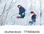 cheerful happy little girl on... | Shutterstock . vector #774006646