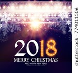 happy new 2018 year poster and... | Shutterstock .eps vector #774011506