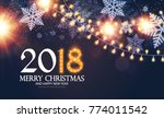 happy new 2018 year poster and... | Shutterstock .eps vector #774011542