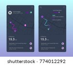 vector city map with route and... | Shutterstock .eps vector #774012292