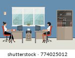 workplace of office workers.... | Shutterstock .eps vector #774025012