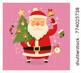 santa clause with decorated... | Shutterstock .eps vector #774025738
