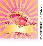 love hearts / with banner and space for your text / valentine /  vector - stock vector