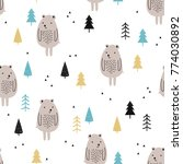 seamless pattern with cute... | Shutterstock .eps vector #774030892