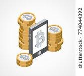 bitcoin web icon   Shutterstock .eps vector #774044392