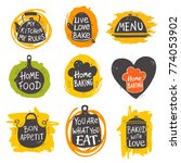 colorful cooking lettering set. ... | Shutterstock .eps vector #774053902