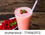 raspberry smoothie and... | Shutterstock . vector #774062572