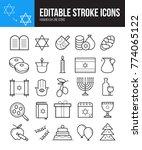 hanukkah editable line icons.... | Shutterstock .eps vector #774065122