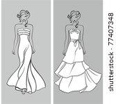 stylish wedding silhouettes   Shutterstock .eps vector #77407348