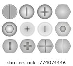 set of screws and bolts on... | Shutterstock .eps vector #774074446