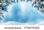 winter christmas background... | Shutterstock . vector #774079282