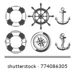 vintage nautical  marine objects | Shutterstock .eps vector #774086305