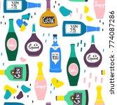 hand drawn various bottles of... | Shutterstock .eps vector #774087286