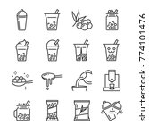 bubble tea icon set. included... | Shutterstock .eps vector #774101476