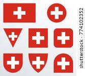switzerland flag set. swiss... | Shutterstock .eps vector #774102352