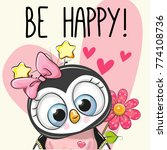 be happy greeting card penguin...   Shutterstock .eps vector #774108736