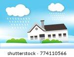 home flooding under water ...   Shutterstock .eps vector #774110566