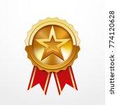 golden medal with star logo ...   Shutterstock .eps vector #774120628